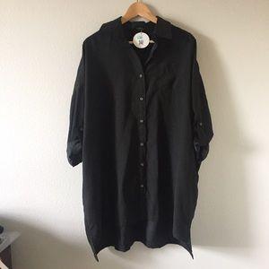 Audrey 3+1 black boyfriend shirt dress