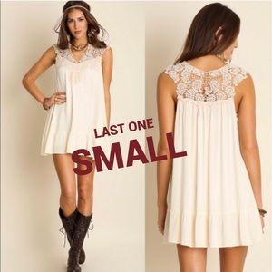 UMGEE White Boho Dress Lace Tunic Crochet Summer