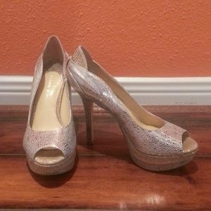 Gianni Bini Shoes - Silver & Gold Leather/Rhinestone Platforms