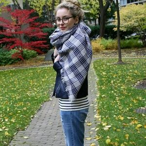 Zara Blue Plaid Blanket Scarf