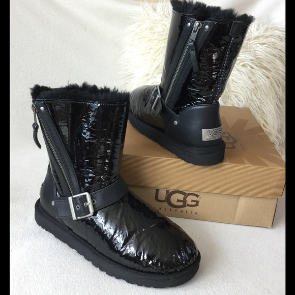 69898d028ab UGG Black Patent leather edgy zipper boots