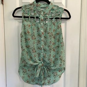 Poof Couture Tops - Poof Couture Boho Chic Button Crop Floral Blouse M