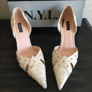 N.Y.L.A. Shoes - N.Y.L.A. Gold Linen Pumps