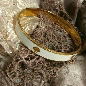 Kate Spade White & Gold Spade Bangle Bracelet