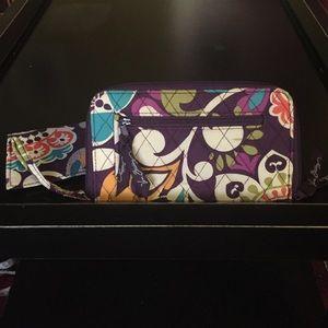 Vera Bradley plum crazy wallet and checkbook cover