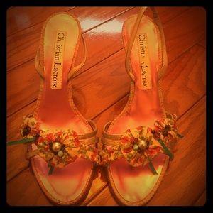 Christian Lacroix Shoes - Christian Lacroix Flower Heels with strap