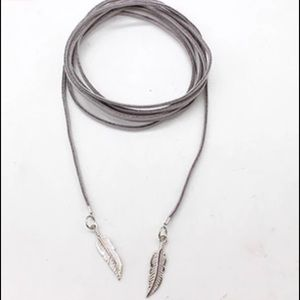Grey Feather Vegan Choker with SILVER
