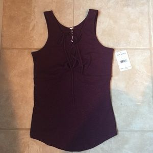 Free people lace up ribbed tank