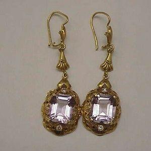 Jewelry - 18k gold 12.25ct diamonds amethyst dangle earrings