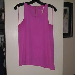 Pink Rose Tops - Hot pink Asymmetric Tank top