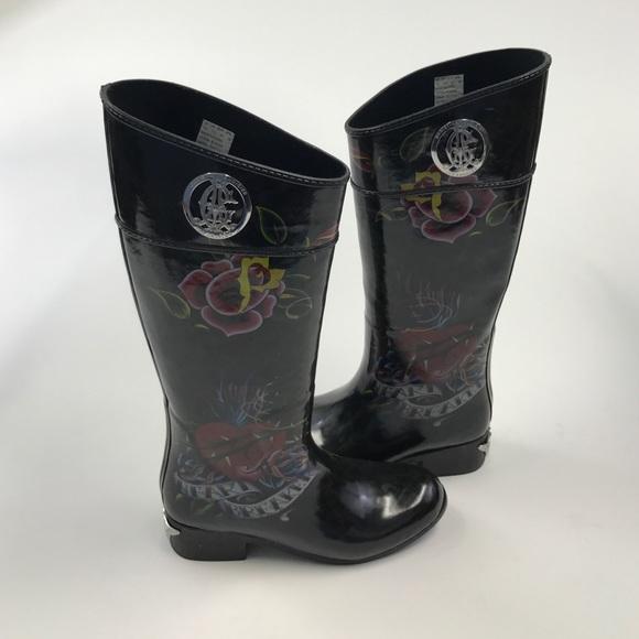 Christian Audigier Womens Rain Boots Sz
