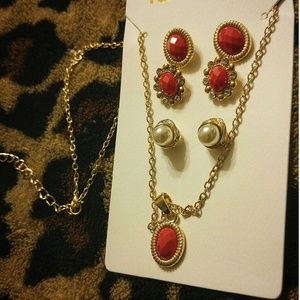 Jewelry - Jewelry GOLD PEARL & RED STONE NECKLACE & EARRINGS