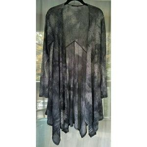 Cherish Tops - Long grey tie-dye cardigan