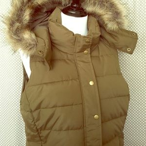 Old Navy Jackets & Blazers - Olive Faux Fur Hooded Vest