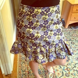 Asos floral blue yellow detail metallic skirt 8