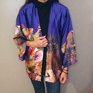 SheInside Tops - Multicolor floral kimono