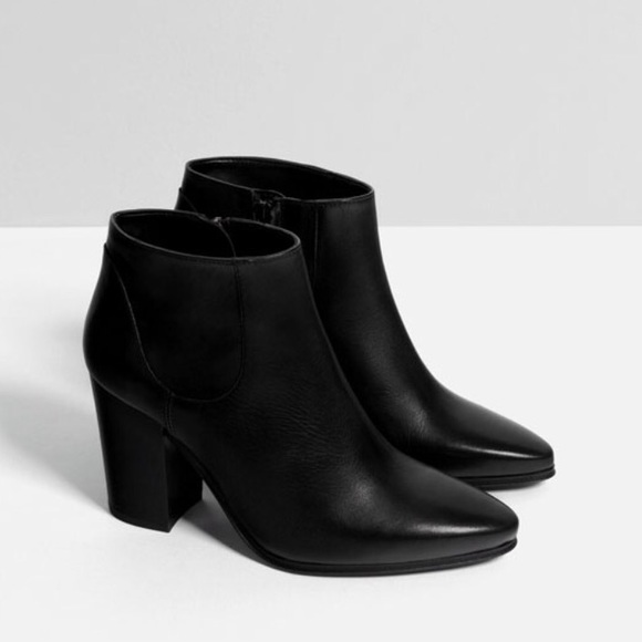 79e8fb515da8 Zara Black Leather High Heel Ankle Boots 38 7.5