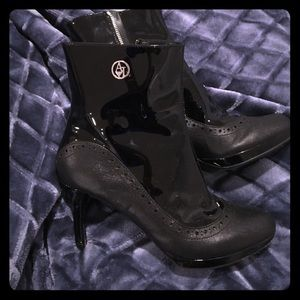 Armani Jeans Shoes - Armani Jeans Patent Leather Ankle Booties!