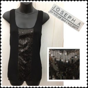 Joseph Allen Tops - NEW Black tank top sequin trim JOSEPH A Sz Medium