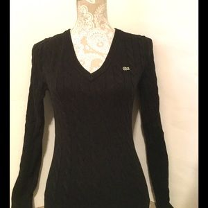 Lacoste Black Cable Knit Sweater, Size XS