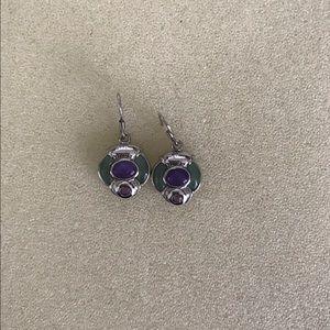 Earrings- green and purple jade