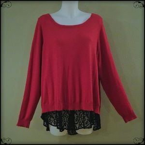 Black Lace Button Back Sweater