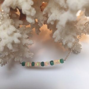 Eithopian Opal and emerald  necklace simple style