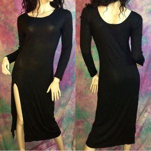Black knit high slit long sleeve maxi dress L 8-10