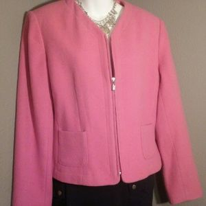 Chadwicks Jackets & Blazers - Chadwicks wool blend pink zip jacket EUC 14