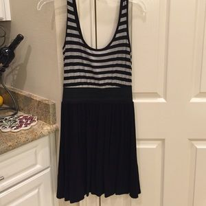 Striped T shirt dress with elastic waist band