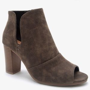 Qupid Shoes - NEW! Charcoal Brown Peep Toe Booties