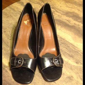 Joan & David Shoes - Circa Joan & David Black Leather Peep Toe Heels