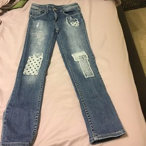 H&M Girls light blue patch jeans