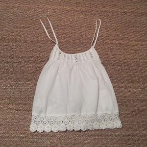 Topshop Tops - White lace crop top