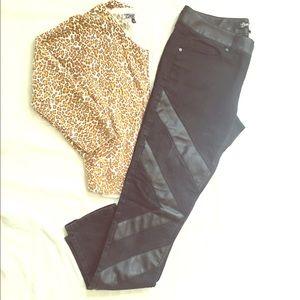 Black Skinny Leg Jeans w/ Faux Leather size 11