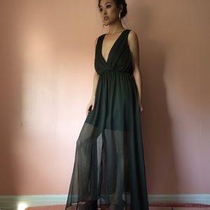 Keepsake Dresses & Skirts - Keepsake Atonement Sheer Olive Maxi Dress