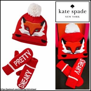 kate spade Other - KATE SPADE Beanie Hat & Mitten Set