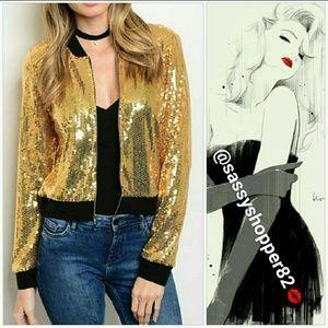 Jackets & Blazers - Gold sequin bomber jacket