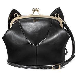 Handbags - Black Faux Leather Kitty Purse 😸