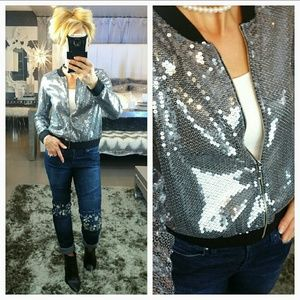 """Jackets & Blazers - 💋""""Sparkle in Sequins"""" Silver Sequin Bomber Jacket"""