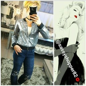 "Jackets & Blazers - 🌟2 LEFT ""Sparkle in Sequins"" Silver Bomber Jacket"