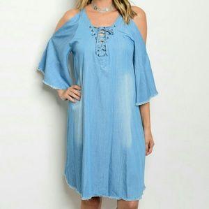 Dresses & Skirts - Sassy Cold-shoulder denim tunic  dress