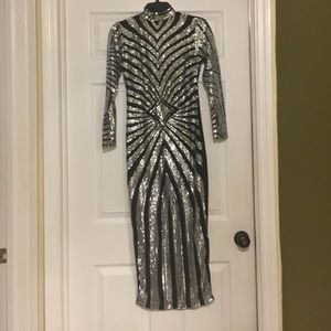 Gorgeous Silver and Black Sequin Dress