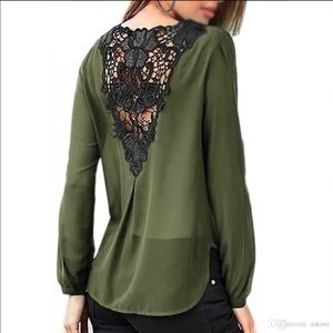 ✨Just In!✨Chiffon Leather & Lace Back Detail Top