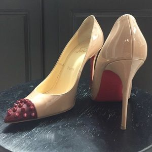 Christian Louboutin Pigalle Red Spiked Toe 38.5