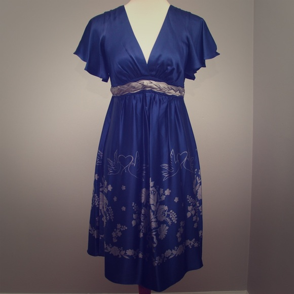 098698018216 Voom by Joy Han Dresses | Silk Navy Grey Dress | Poshmark