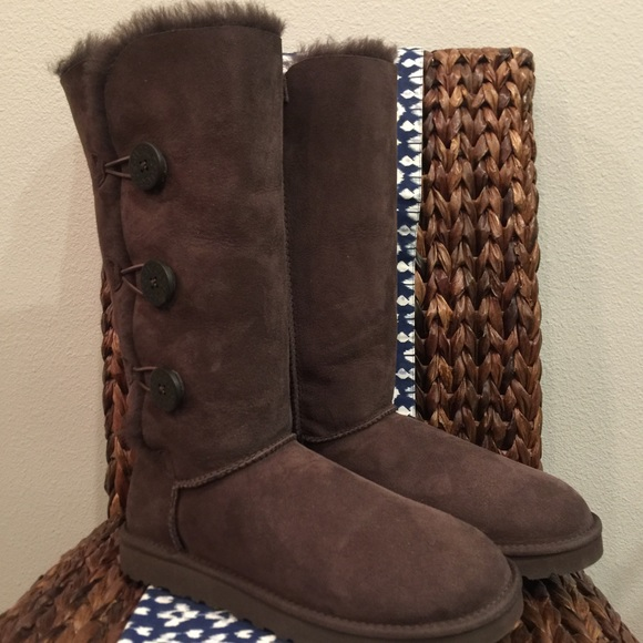 873dd31f04c UGG Bailey Button Triplet Boots Chocolate