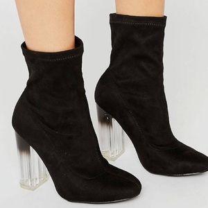 ASOS clear block heel suede booties