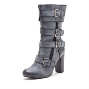 Shoes - Mid calf grey distressed buckle boots