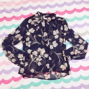 Sheer navy floral tie neck blouse